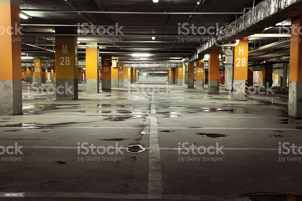 Image of parking garage underground interior stock photo