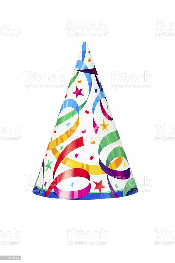 Image of party hat with stars and ribbon stock photo