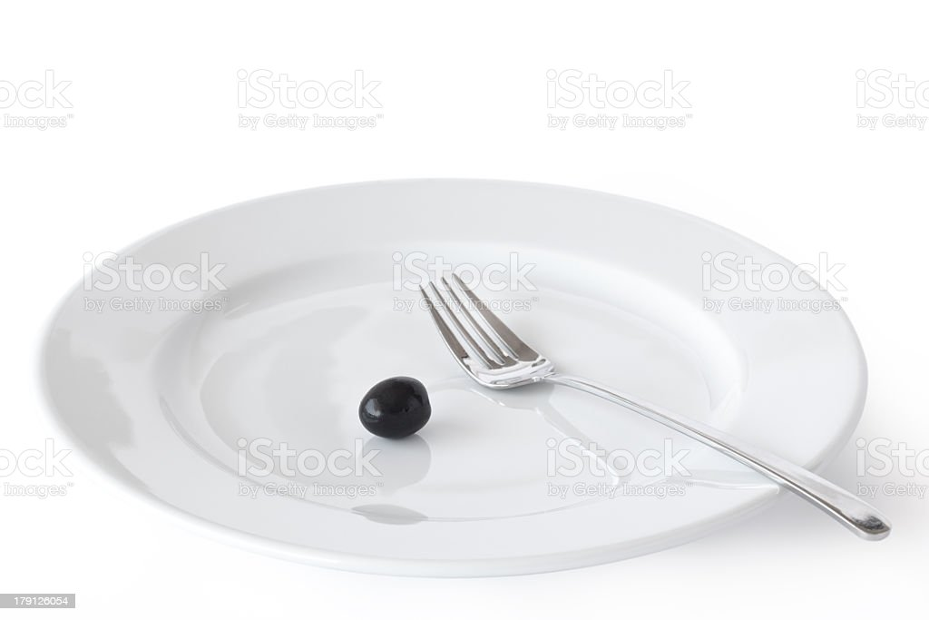 Image of Plate, Fork and Olive. royalty-free stock photo