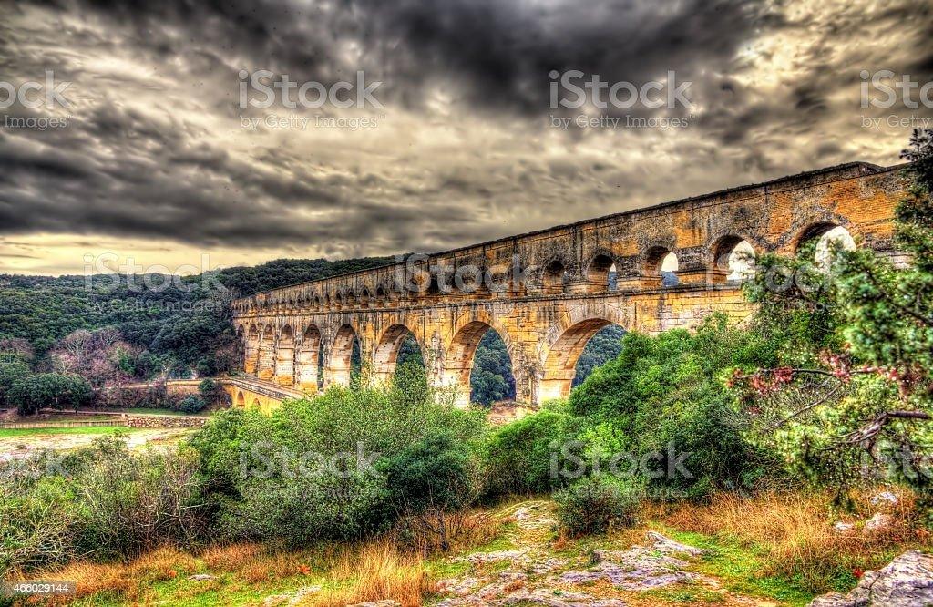 HDR image of Pont du Gard, ancient Roman aqueduct stock photo
