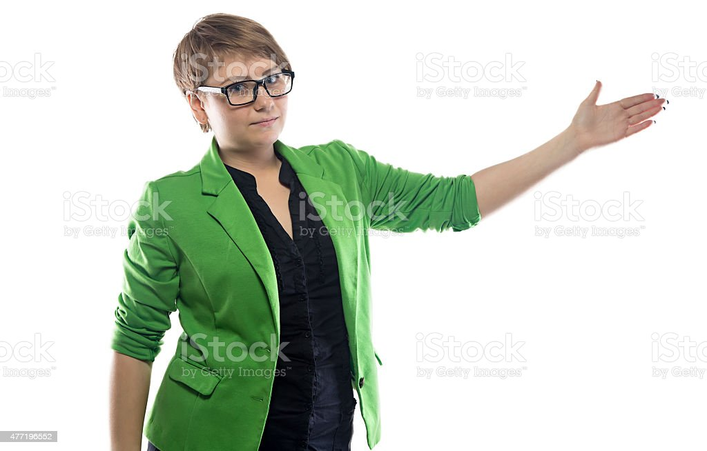 Image of pudgy showing business woman stock photo