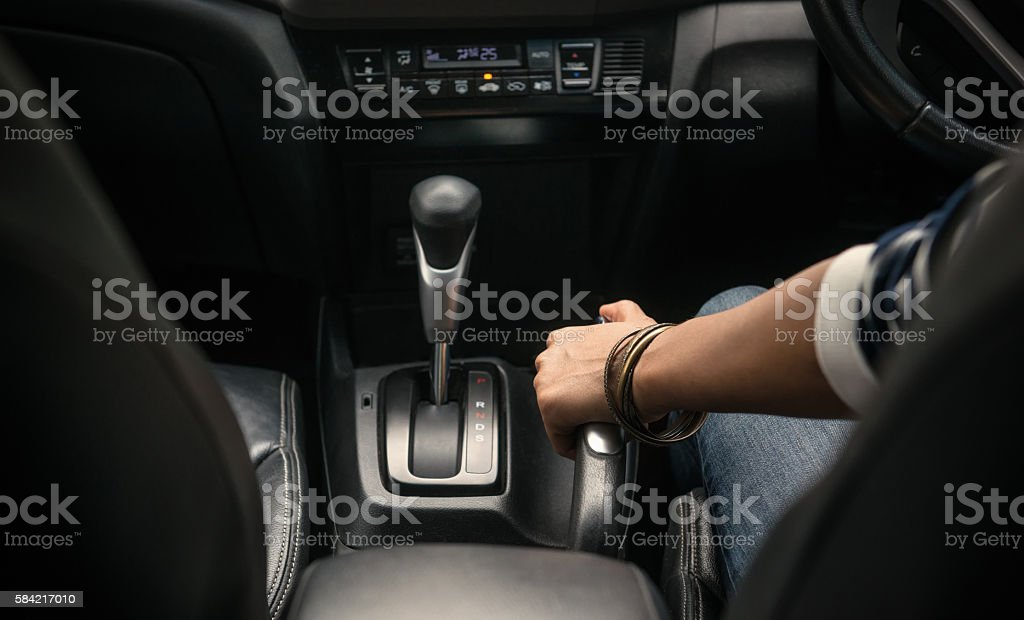 Image of pulling the handbrake on the car stock photo