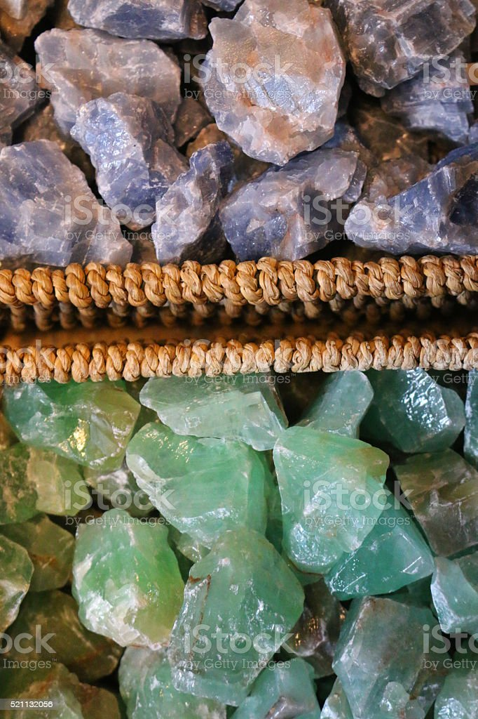 Image of raw purple amethyst and green malachite stones stock photo