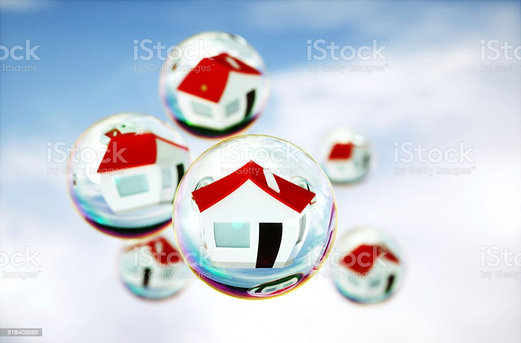 3D Image of real-estate (house) bubbles stock photo