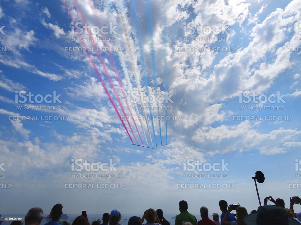 Image of Red Arrows flight display at Bournemouth Air Festival stock photo