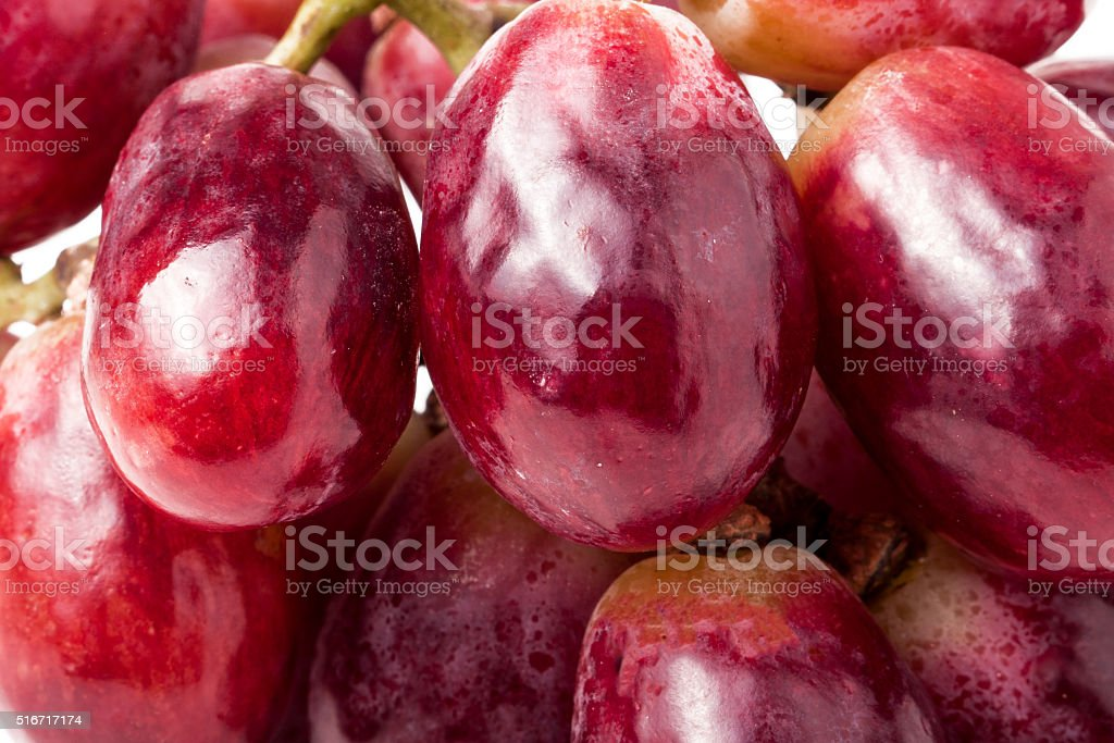 Image of red grape background with water drops stock photo
