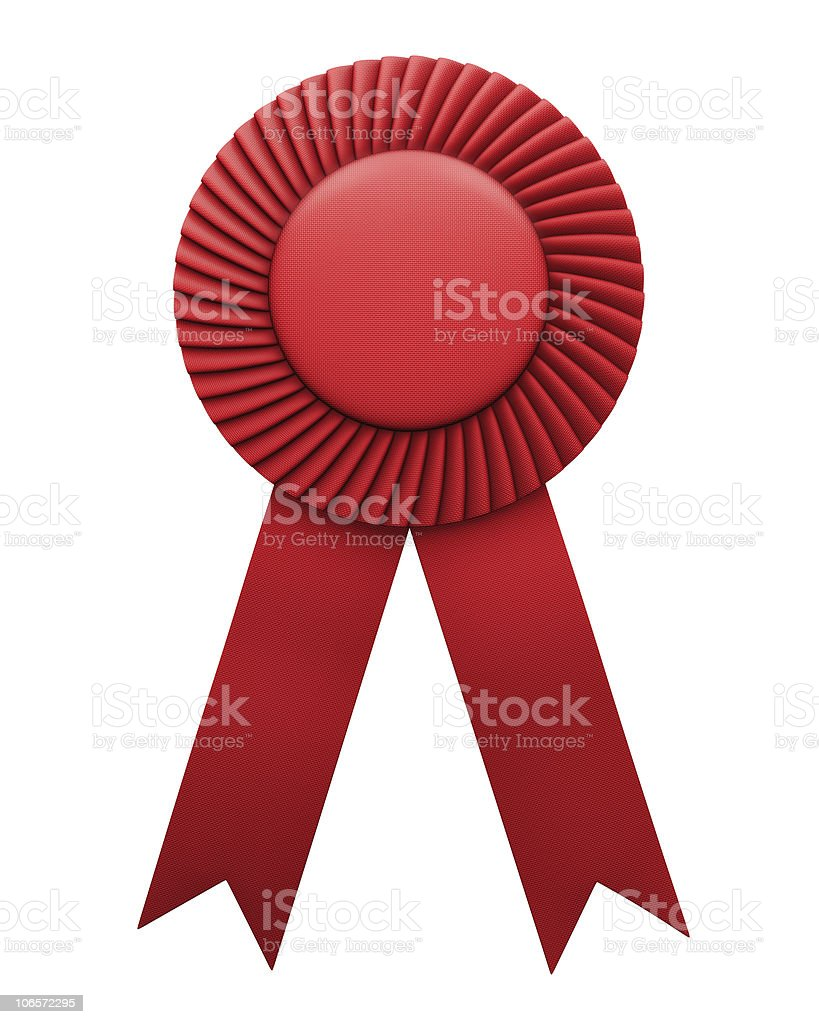 Image of red ribbon award icon in white background royalty-free stock photo
