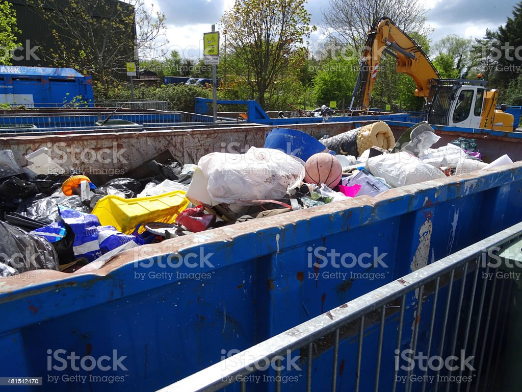 Image of refuse centre rubbish dump, skips for recycling household-waste stock photo