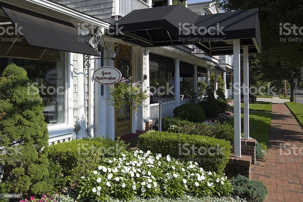 DSLR image of registration at bed and breakfast stock photo