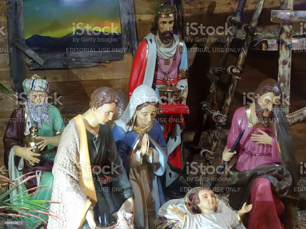 Image of religious nativity scene in barn with baby Jesus stock photo