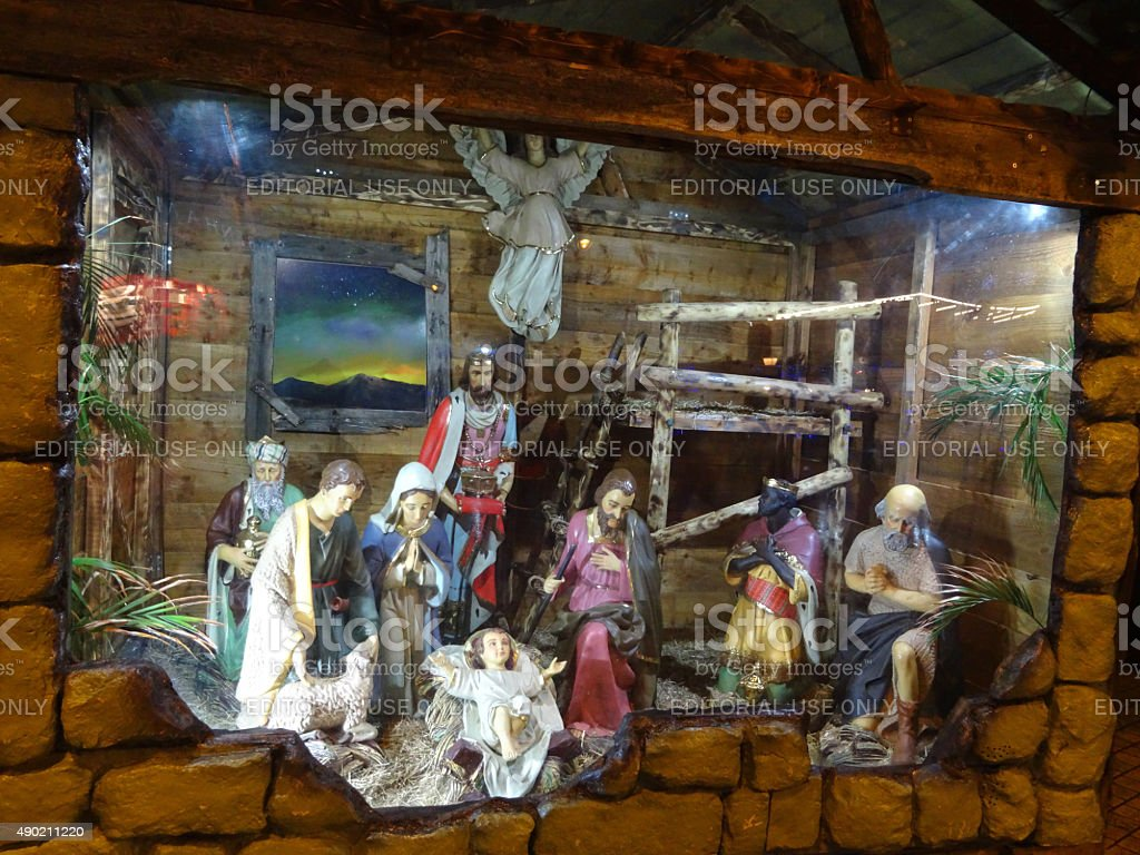 Image of religious statues in nativity scene at Christmas, baby-Jesus stock photo