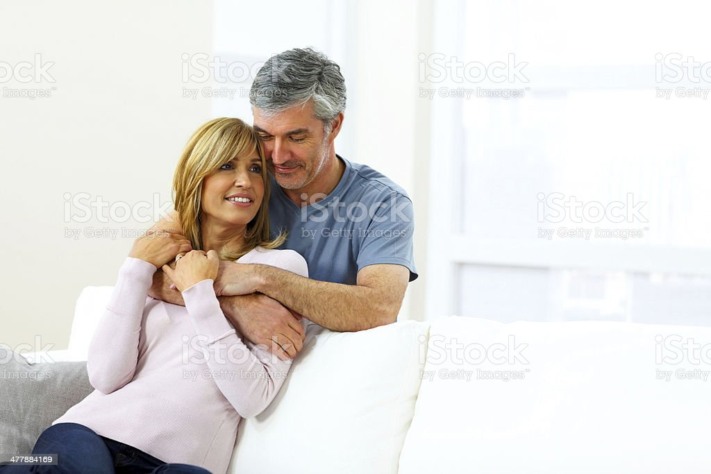 Image of romantic mature couple - Indoors royalty-free stock photo
