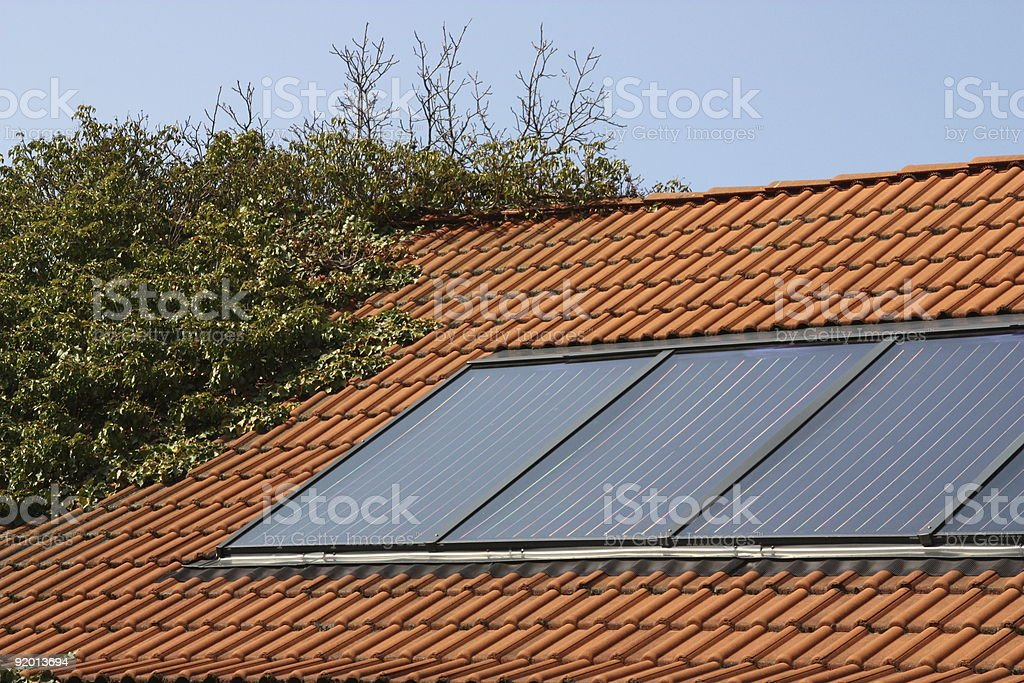 Image of roof with solar panel system installed royalty-free stock photo