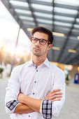 Image of serious businessman with glasses