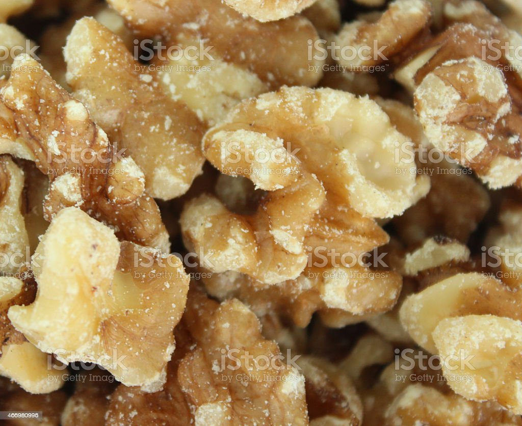 Image of shelled walnuts / nuts close-up, healthy food snack, health-benefits stock photo
