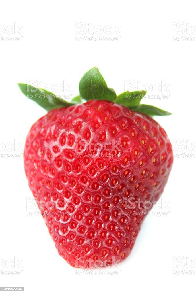 Image of single ripe strawberry fruit isolated against white background stock photo