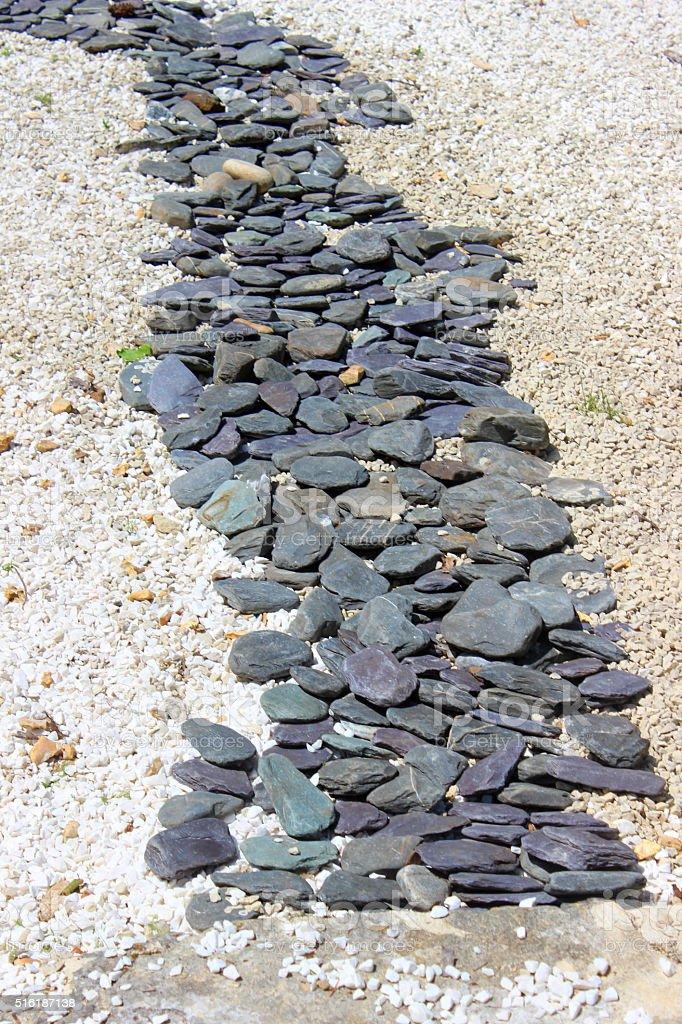 Image of slate paddlestones forming dry river, oriental Japanese garden stock photo