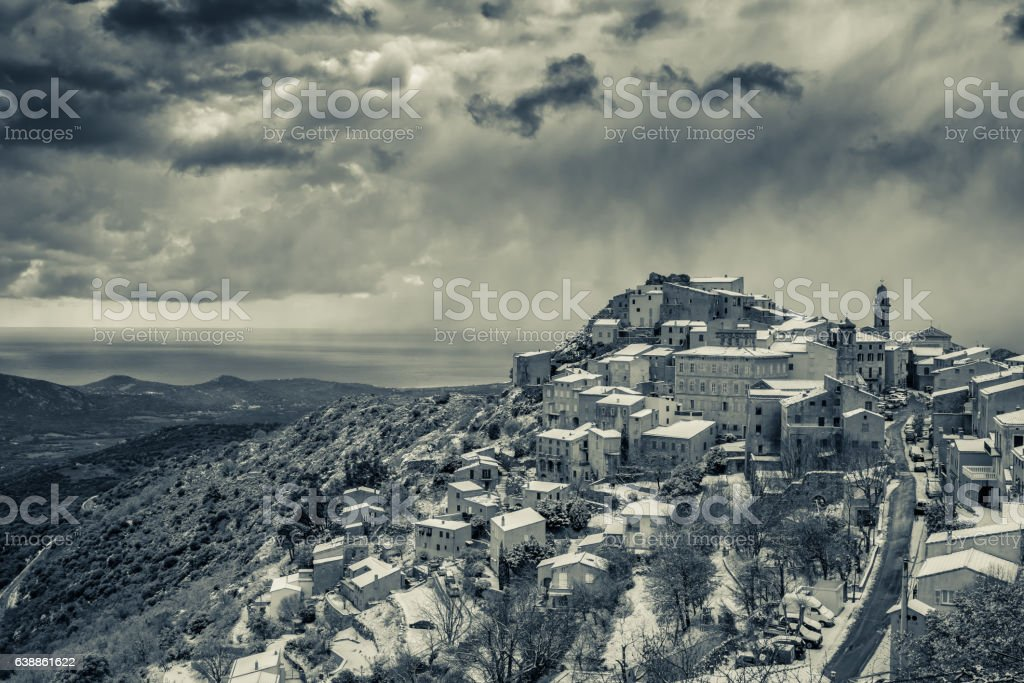 B&W image of snow on Speloncato in Corsica stock photo
