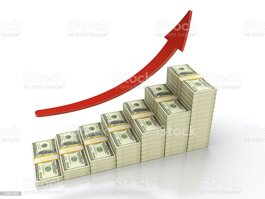 Image of stacks of money growing with a red arrow stock photo