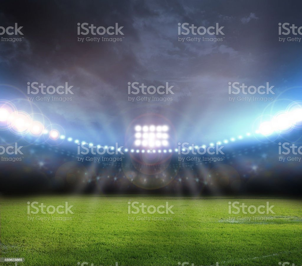 Image of stadium with lights and flashes stock photo