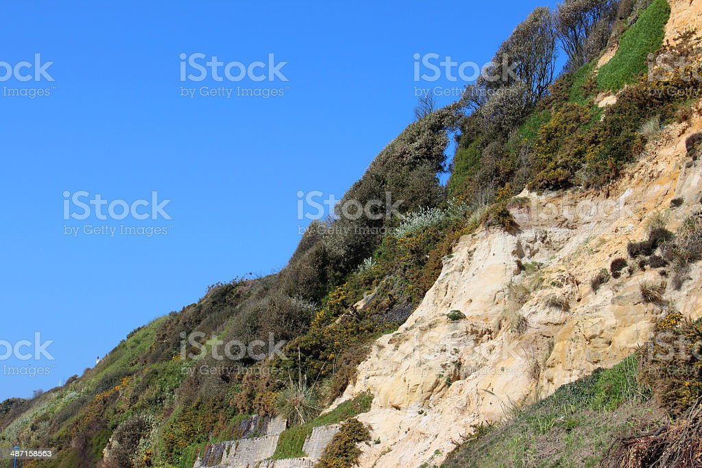 Image of steep sandy cliff / landslide, gradually eroding away royalty-free stock photo