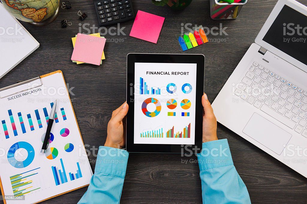 Image of stock broker analyzing financial report stock photo