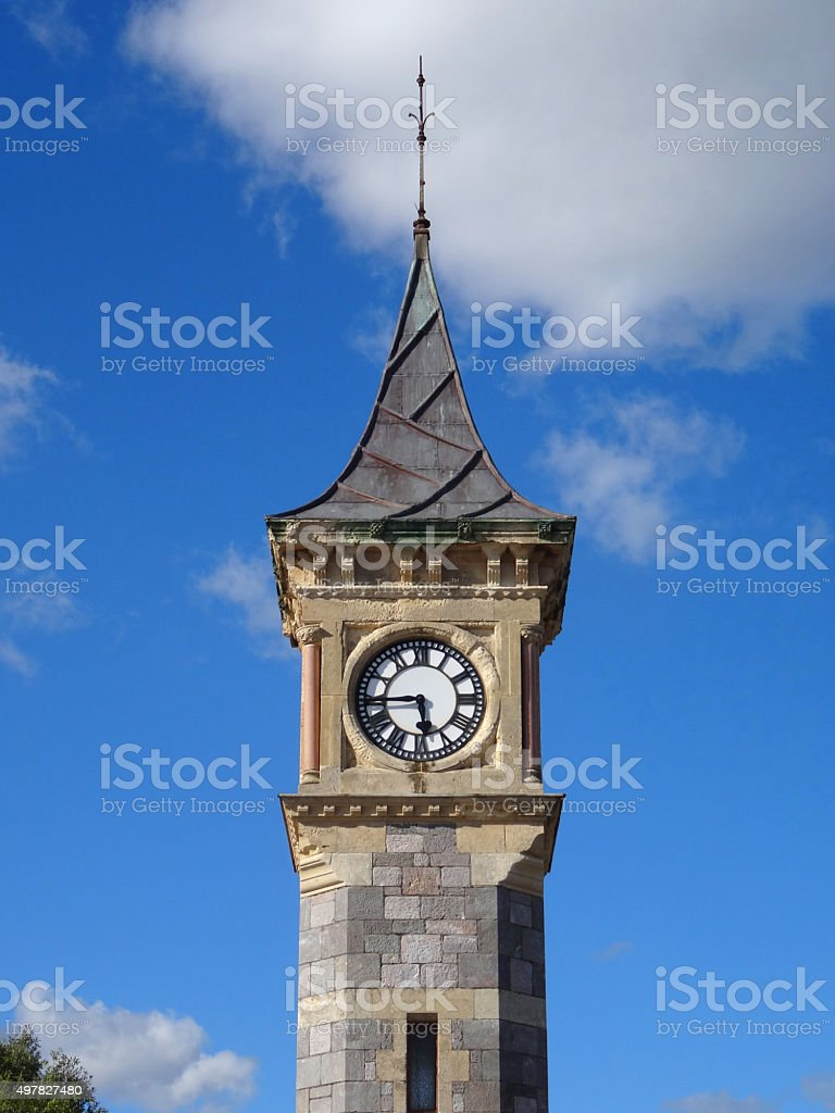 Image of stone, Diamond Jubilee clock tower in Exmouth, England stock photo
