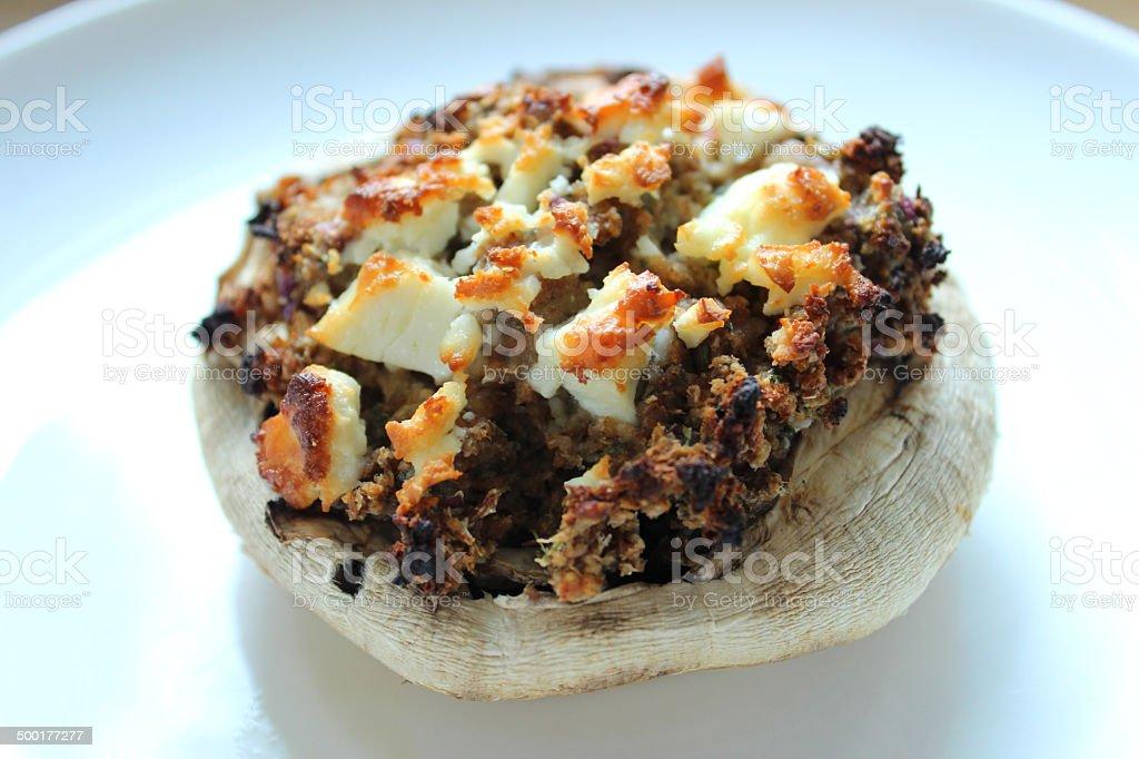 Image of stuffed mushroom, garlic mushroom with Stilton, goat's cheese stock photo