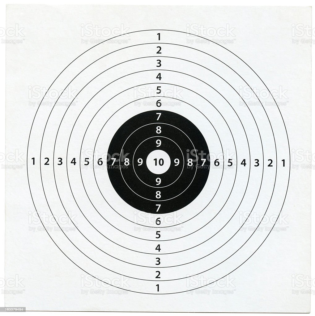 Image of target with 10 radial layers stock photo