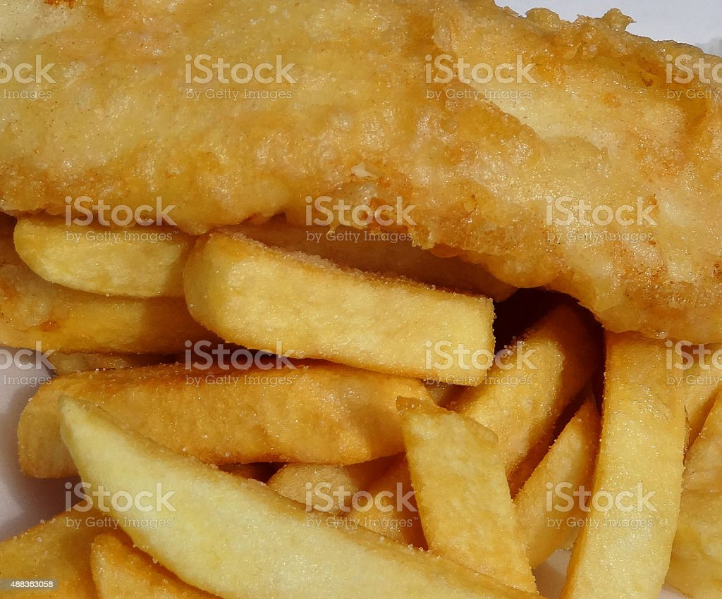 Image of tasty battered fish / cod and chips from takeaway stock photo