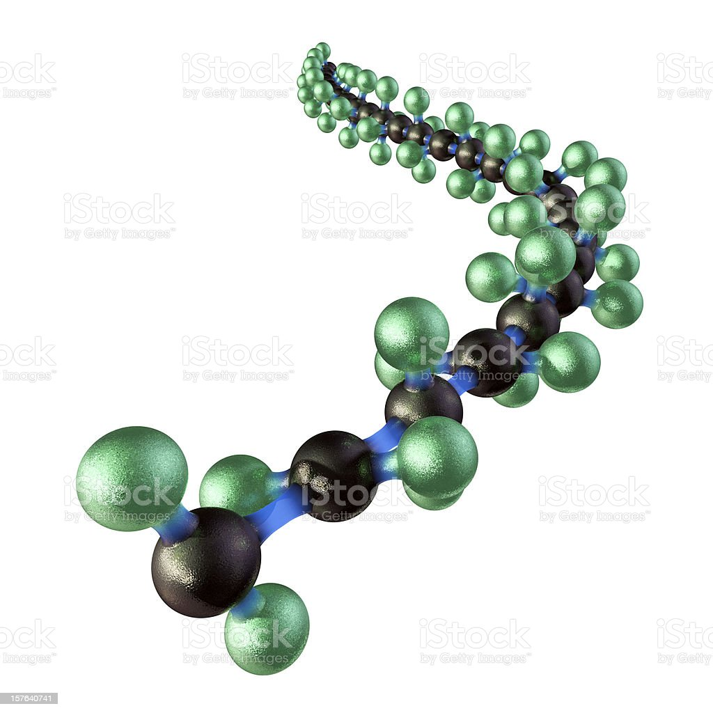 3D image of Teflon model in green, black and blue  stock photo