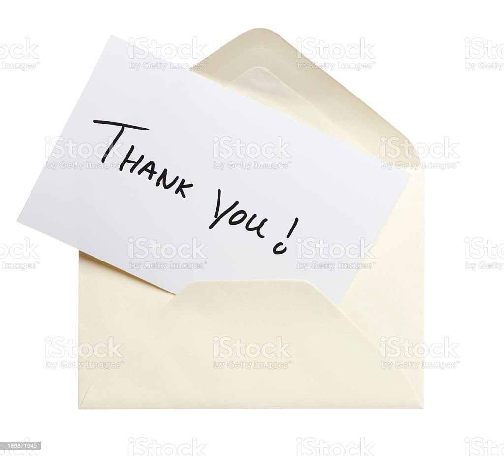 Image of thank you card and envelope on white background royalty-free stock photo