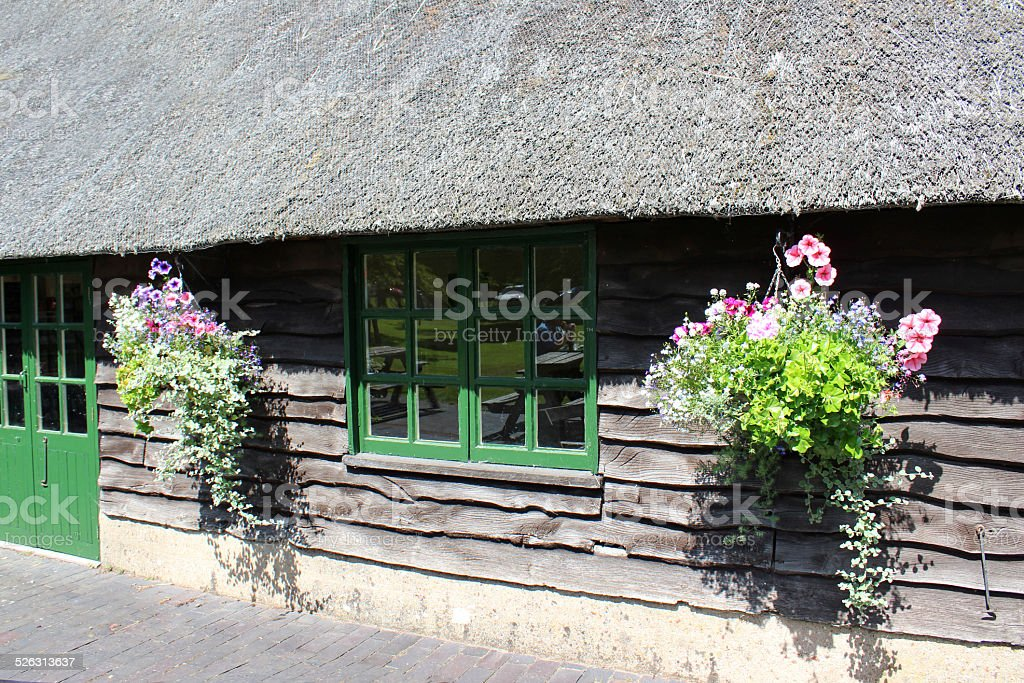 Image of thatched roof covered with chicken wire, hanging baskets stock photo