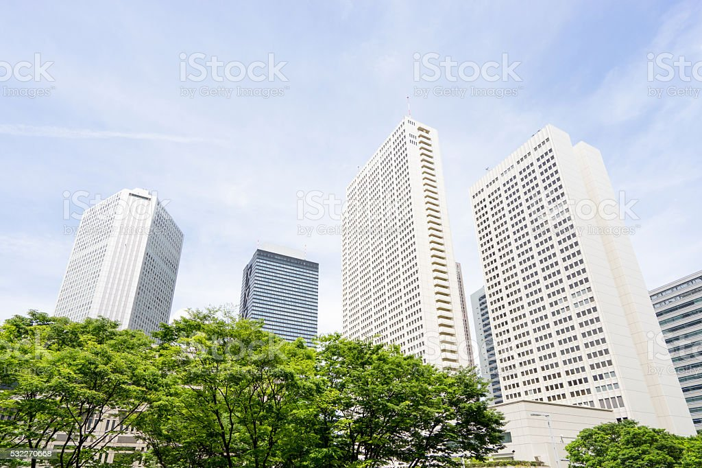 Image du quartier des affaires où sont rafraîchissants vert photo libre de droits