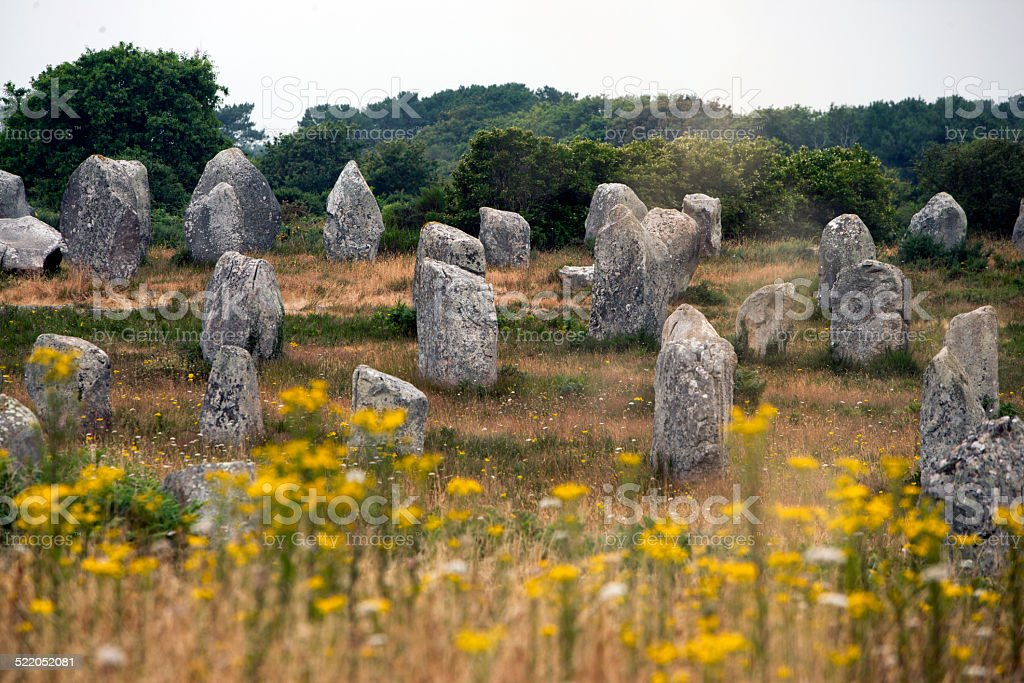 Image of the Carnac Alignments, prehistoric monuments in Brittany (France) stock photo