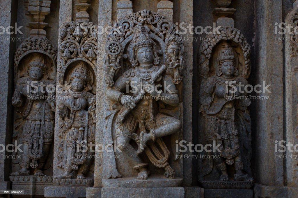 Image of the Hindu god Krishna playing a flute in Chennakesava temple, Somanathapura,Karnataka, India, Asia stock photo