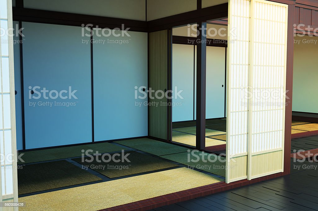 Image of the interior building in the Japanese style. stock photo