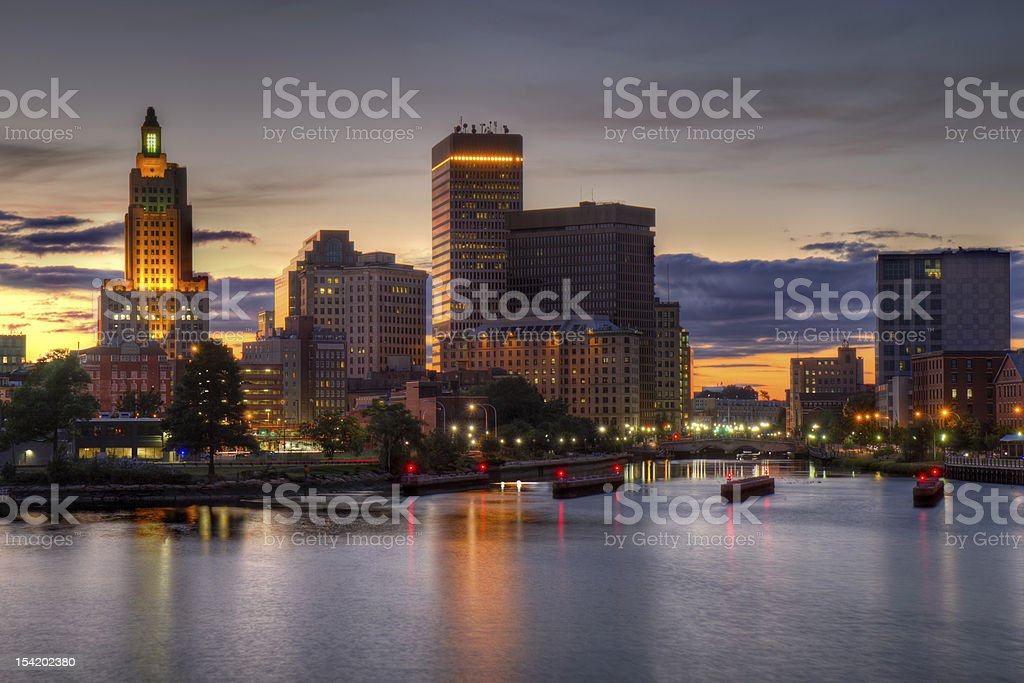 HDR image of the Providence, Rhode Island skyline stock photo