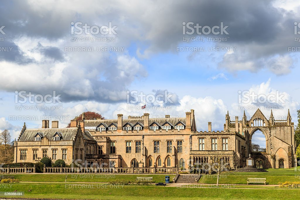 HDR image of the rear of Newstead Abbey. stock photo