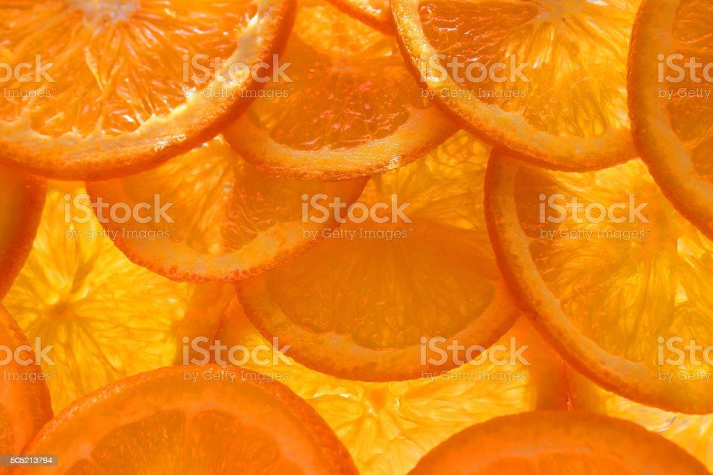 Image of thin citrus orange slices background backlit by light stock photo