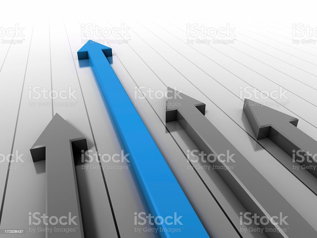 Image of three black arrows and one blue going upwards royalty-free stock photo