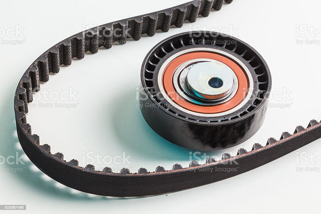 Image of timing belt with rollers stock photo