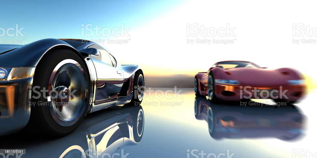 Image of two super cars racing stock photo
