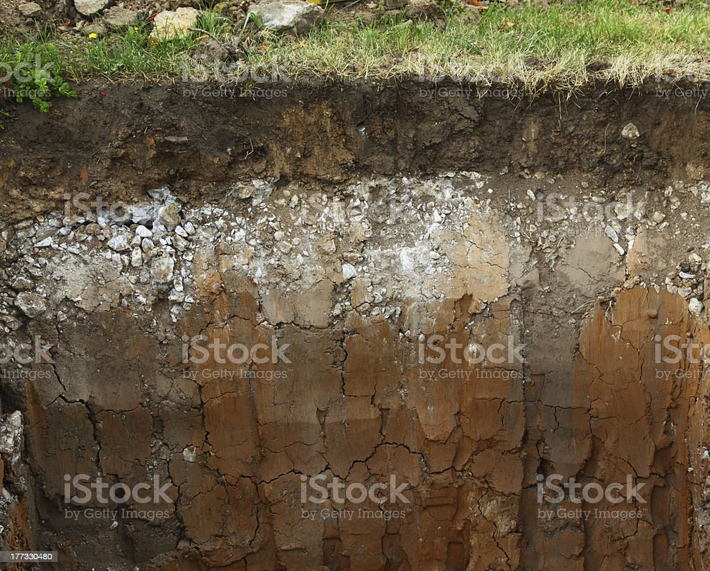 Image of underground soil layers stock photo