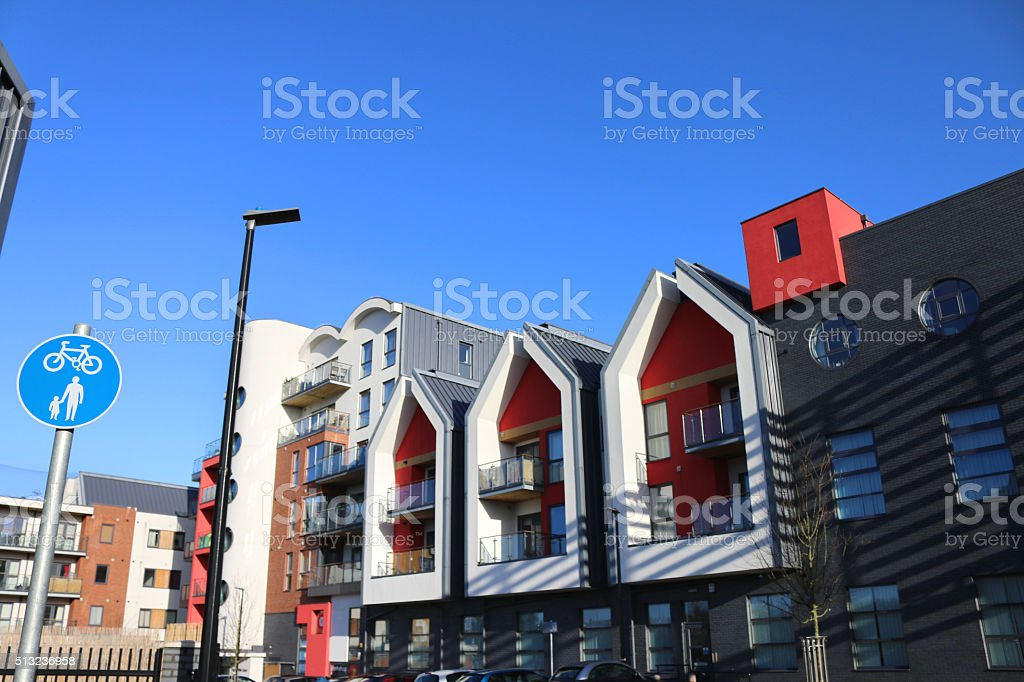 Image of urban residential area, red and yellow modern terrace-houses stock photo
