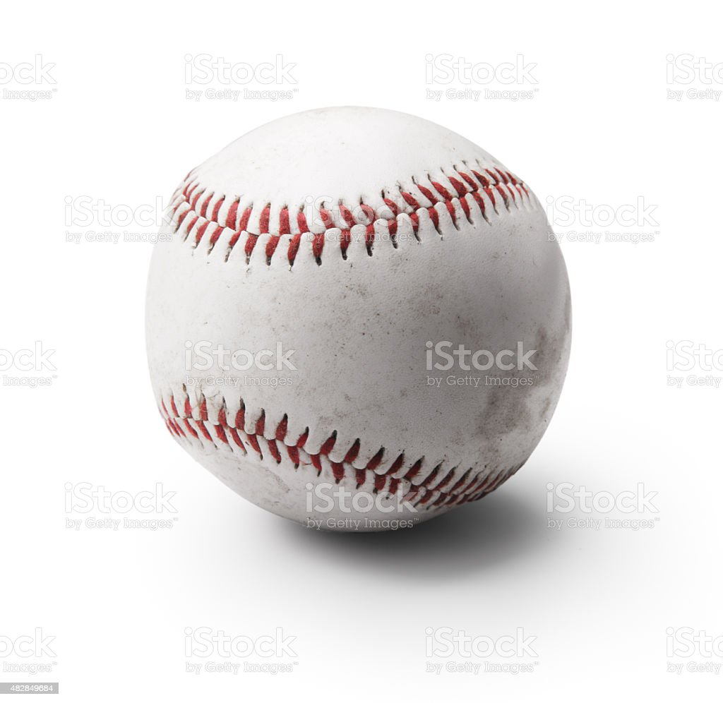 Image of used baseball isolated on white background stock photo