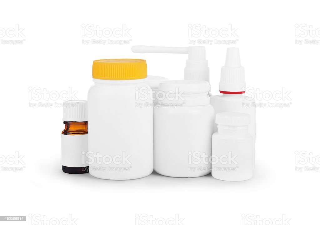 image of various medicinal packings bottles isolated stock photo
