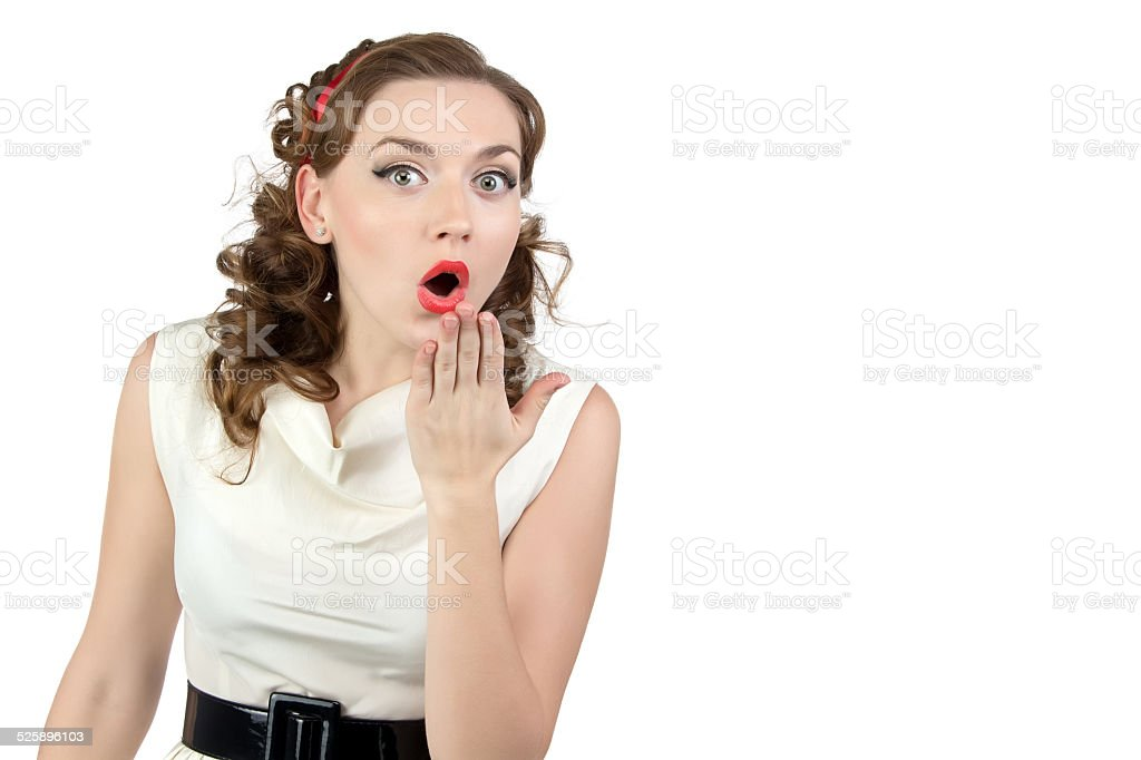Image of very surprised woman with hand stock photo