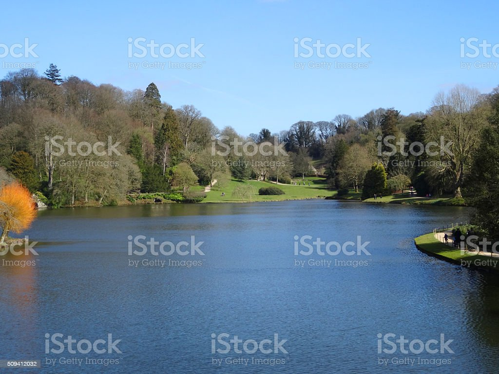 Image of view across a freshwater fishing lake in winter stock photo