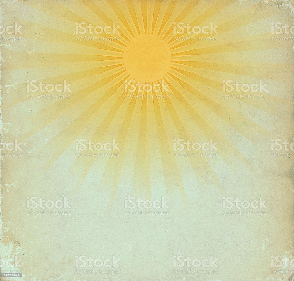 Image of vintage style sun rays on faded background stock photo